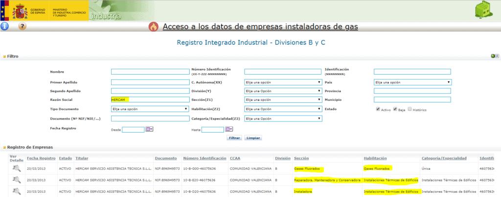 Hercam como empresa registrada en el Ministerio de Industria